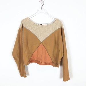 Free People Oversized Color Block Crop Sweatshirt